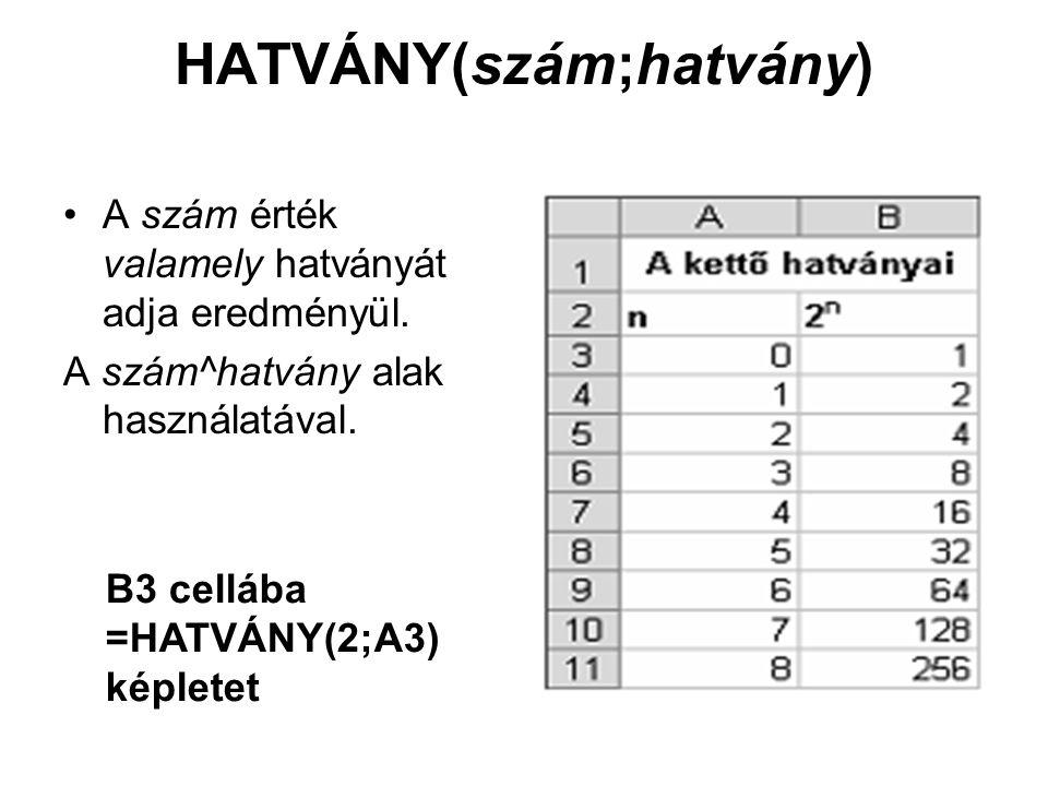 HATVÁNY(szám;hatvány) A szám érték valamely hatványát adja eredményül. A szám^hatvány alak használatával. B3 cellába =HATVÁNY(2;A3) képletet