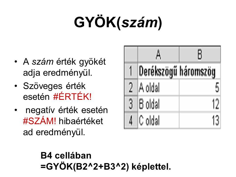 GYÖK(szám) A szám érték gyökét adja eredményül. Szöveges érték esetén #ÉRTÉK! negatív érték esetén #SZÁM! hibaértéket ad eredményül. B4 cellában =GYÖK