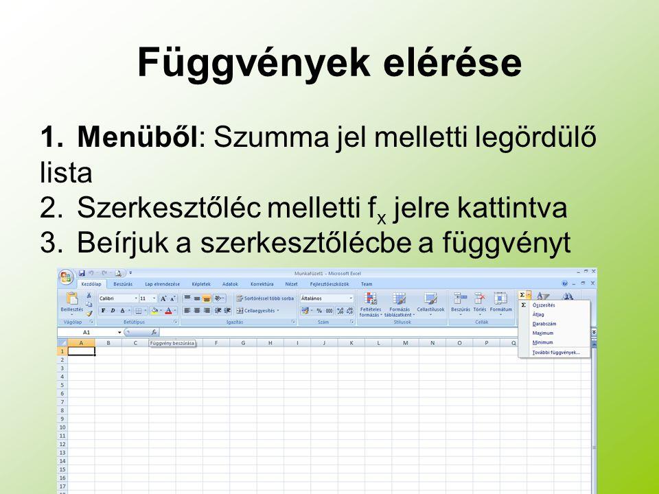Függvények elérése 1.Menüből: Szumma jel melletti legördülő lista 2.Szerkesztőléc melletti f x jelre kattintva 3.Beírjuk a szerkesztőlécbe a függvényt