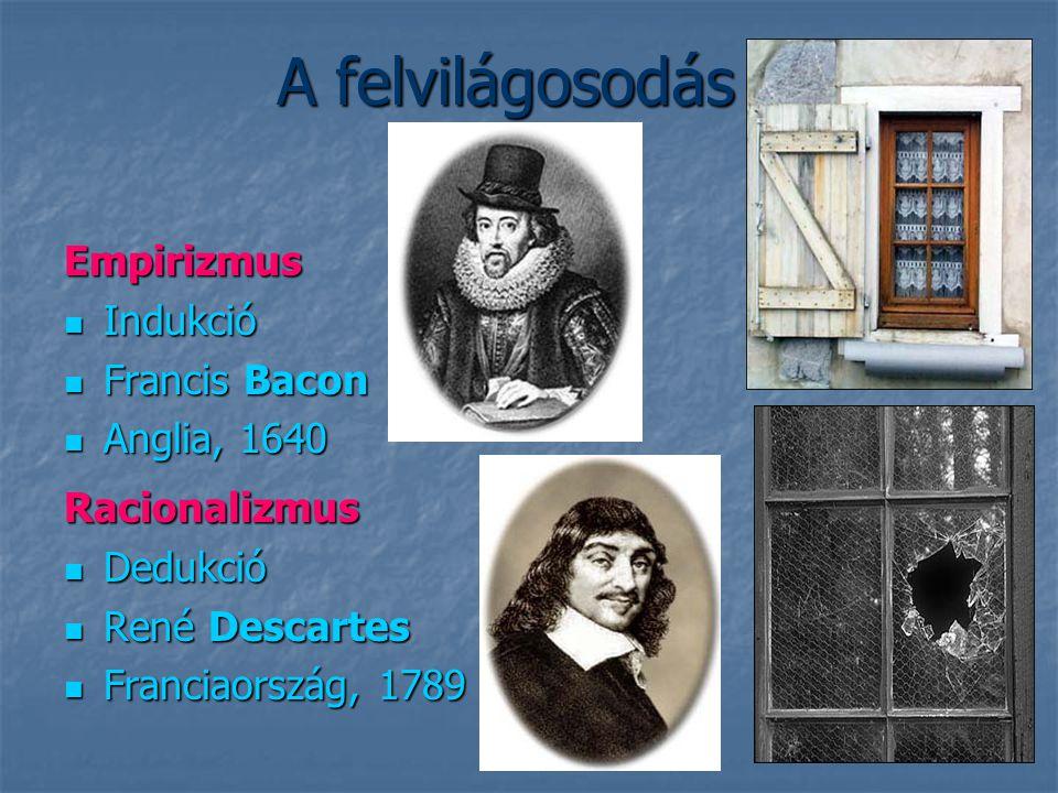 A felvilágosodás Empirizmus Indukció Indukció Francis Bacon Francis Bacon Anglia, 1640 Anglia, 1640 Racionalizmus Dedukció Dedukció René Descartes Ren