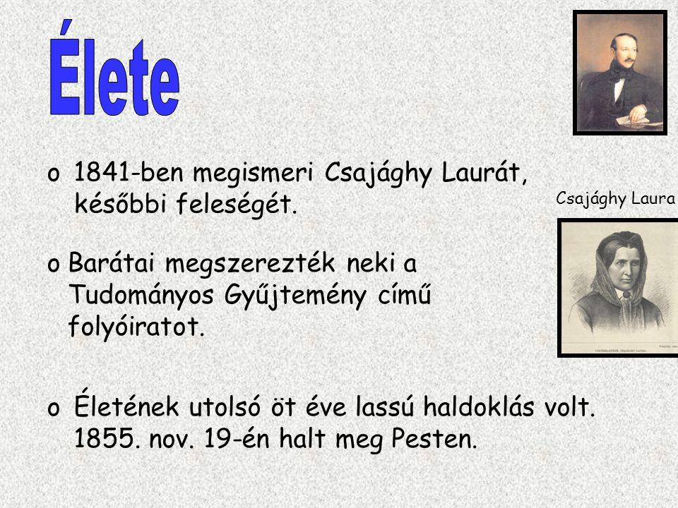 o1841-ben megismeri Csajághy Laurát, későbbi feleségét. oÉletének utolsó öt éve lassú haldoklás volt. 1855. nov. 19-én halt meg Pesten. Csajághy Laura