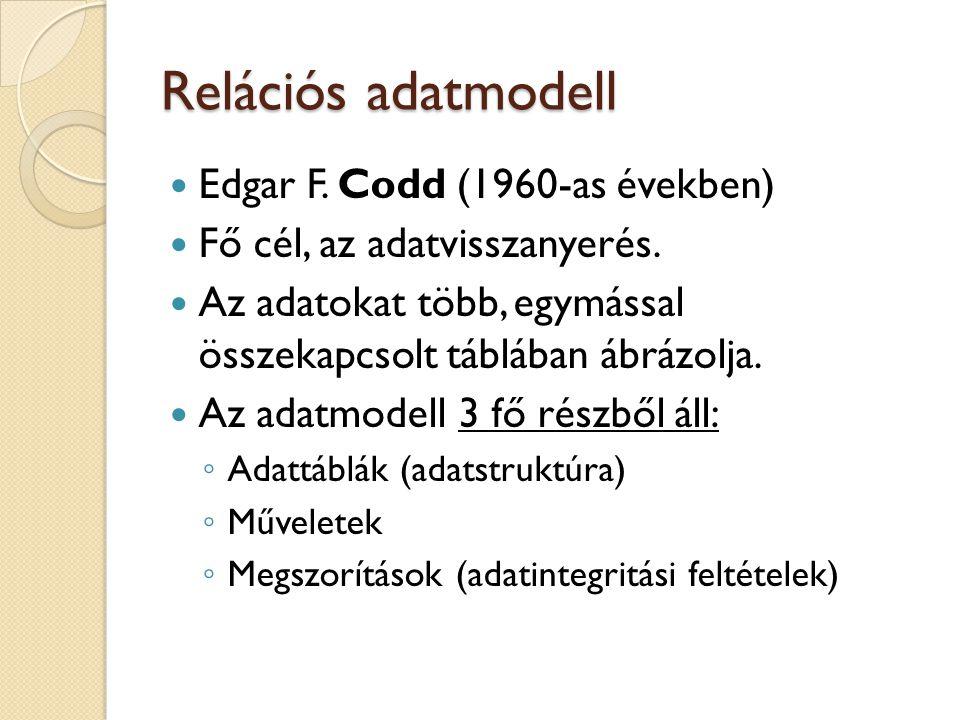 Relációs adatmodell Edgar F. Codd (1960-as években) Fő cél, az adatvisszanyerés. Az adatokat több, egymással összekapcsolt táblában ábrázolja. Az adat