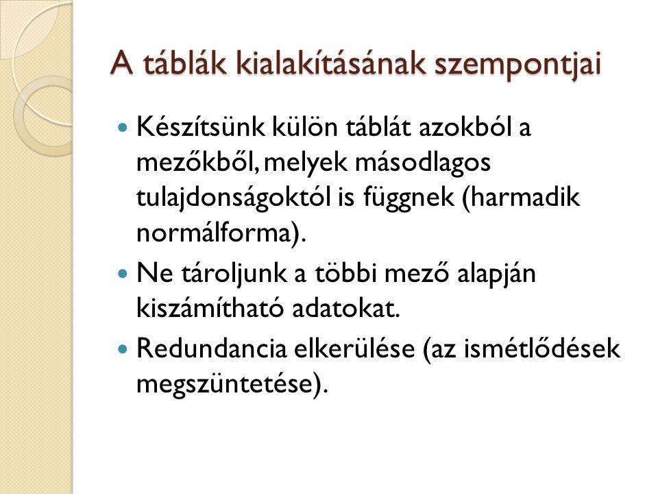 A táblák kialakításának szempontjai Készítsünk külön táblát azokból a mezőkből, melyek másodlagos tulajdonságoktól is függnek (harmadik normálforma).