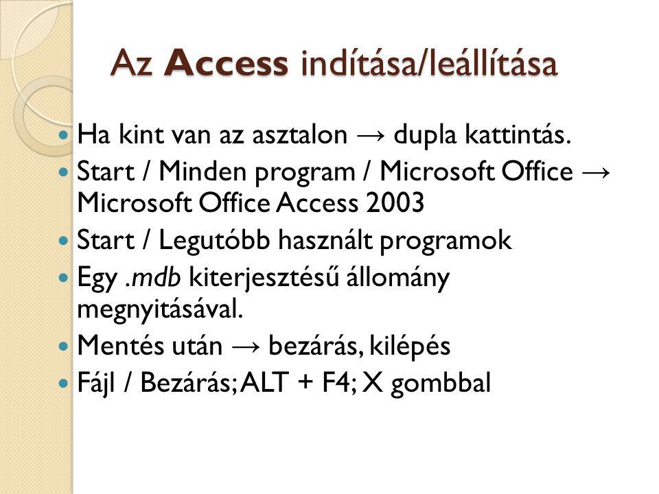 Az Access indítása/leállítása Ha kint van az asztalon → dupla kattintás. Start / Minden program / Microsoft Office → Microsoft Office Access 2003 Star