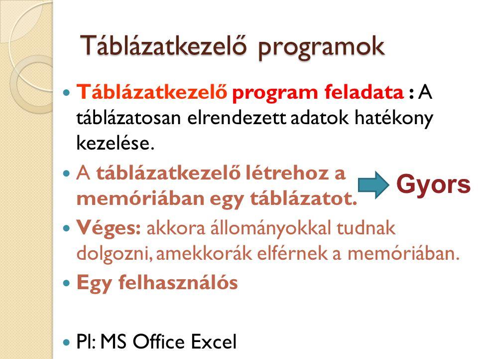 Táblázatkezelő programok Táblázatkezelő program feladata : A táblázatosan elrendezett adatok hatékony kezelése. A táblázatkezelő létrehoz a memóriában
