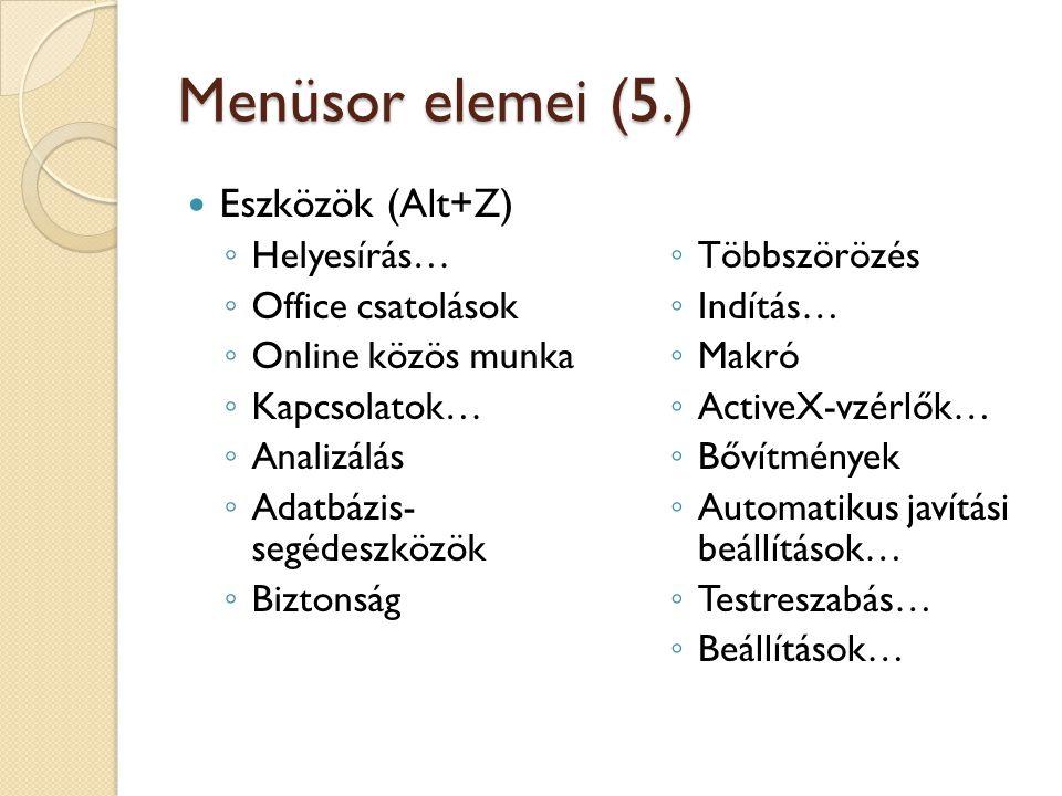 Menüsor elemei (5.) Eszközök (Alt+Z) ◦ Helyesírás… ◦ Office csatolások ◦ Online közös munka ◦ Kapcsolatok… ◦ Analizálás ◦ Adatbázis- segédeszközök ◦ Biztonság ◦ Többszörözés ◦ Indítás… ◦ Makró ◦ ActiveX-vzérlők… ◦ Bővítmények ◦ Automatikus javítási beállítások… ◦ Testreszabás… ◦ Beállítások…