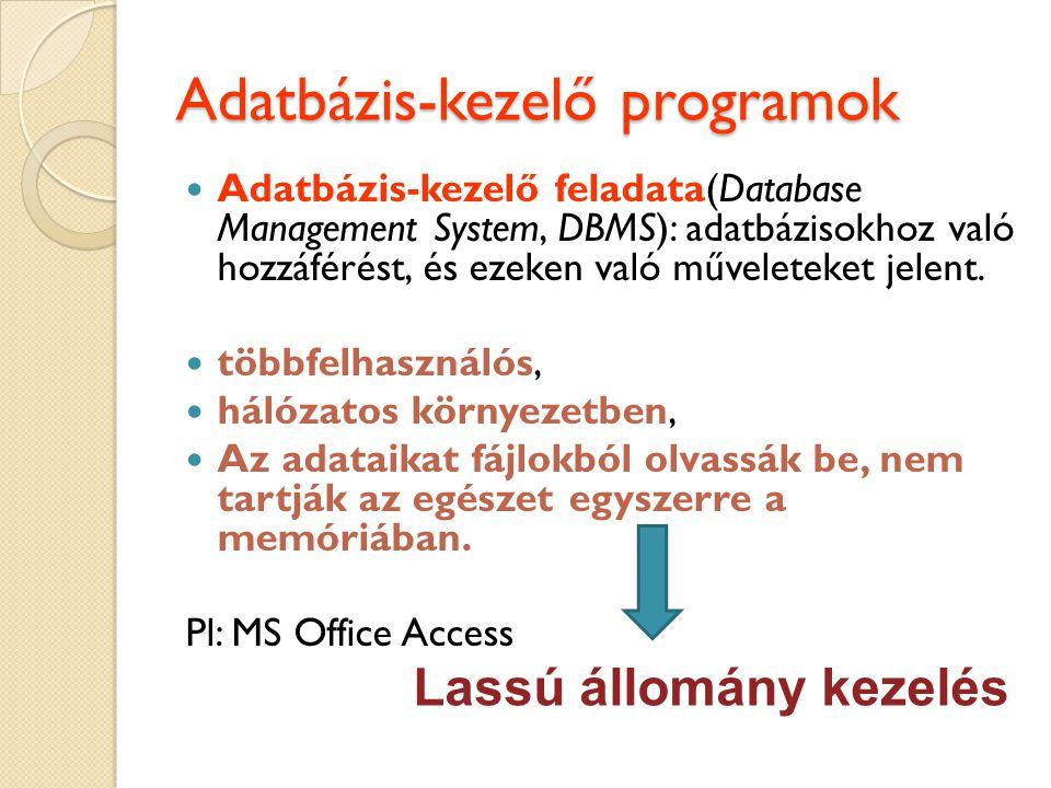 Adatbázis-kezelő programok Adatbázis-kezelő feladata(Database Management System, DBMS): adatbázisokhoz való hozzáférést, és ezeken való műveleteket jelent.
