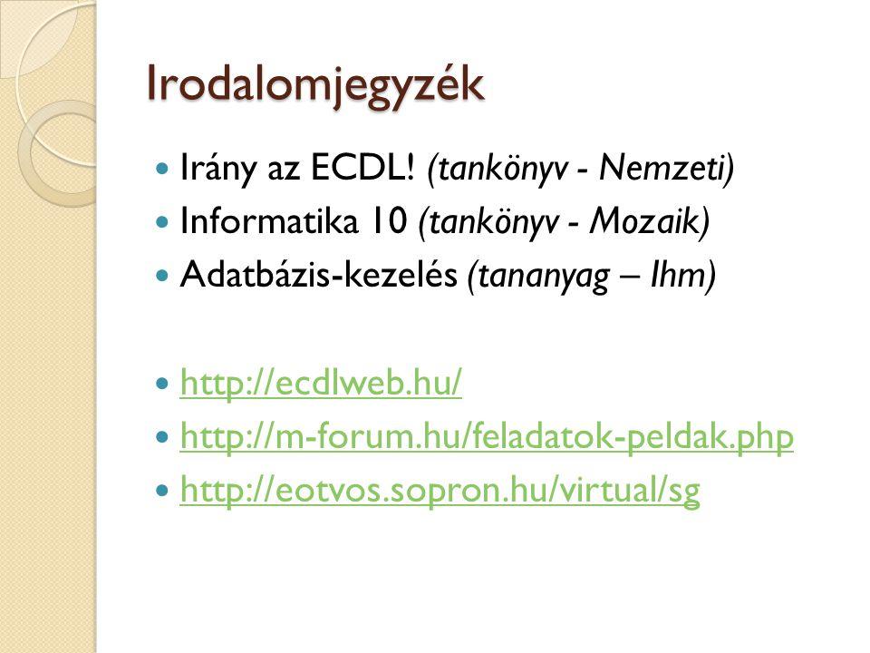 Irodalomjegyzék Irány az ECDL! (tankönyv - Nemzeti) Informatika 10 (tankönyv - Mozaik) Adatbázis-kezelés (tananyag – Ihm) http://ecdlweb.hu/ http://m-