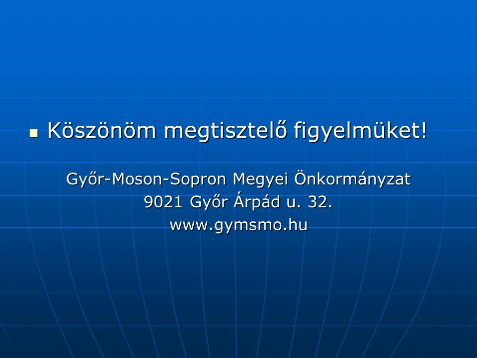 Köszönöm megtisztelő figyelmüket! Köszönöm megtisztelő figyelmüket! Győr-Moson-Sopron Megyei Önkormányzat 9021 Győr Árpád u. 32. www.gymsmo.hu