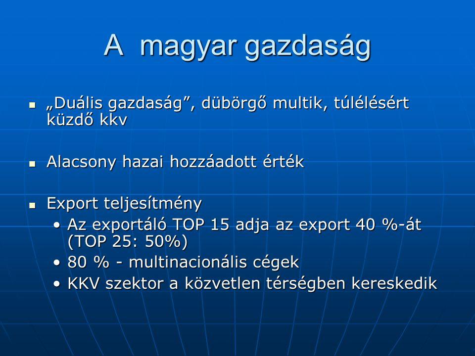 """A magyar gazdaság """"Duális gazdaság"""", dübörgő multik, túlélésért küzdő kkv """"Duális gazdaság"""", dübörgő multik, túlélésért küzdő kkv Alacsony hazai hozzá"""