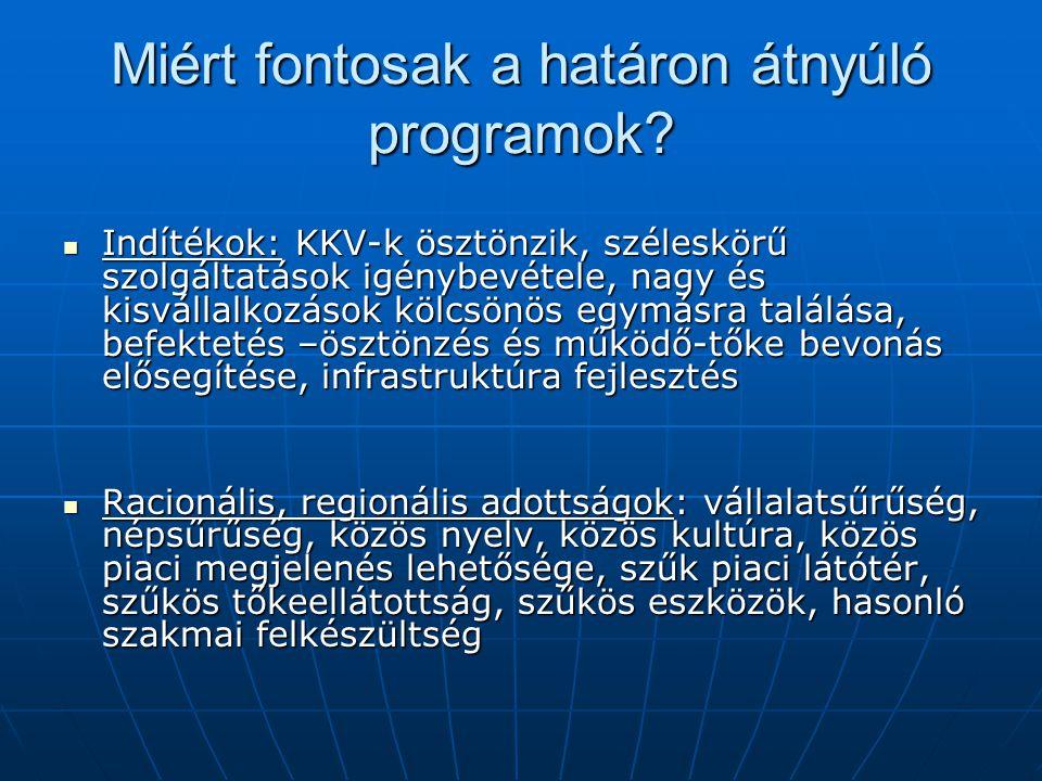 A határon átnyúló programok jelentősége Magyarországon határmenti megyékben él a lakosság 82%-a.