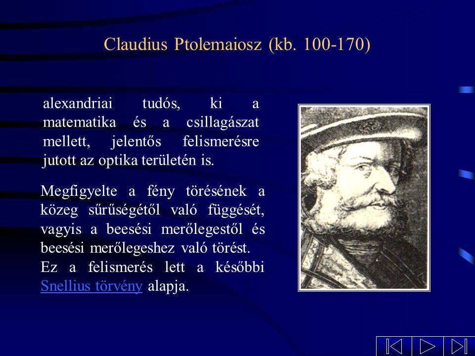Tudománytörténeti arcképek Johannes Kepler Petzvál József Claudius Ptolemaiosz Christoph Scheiner Willebrord Snellius Néhány tudós azok közül, akik a lencsék törvényszerűségeinek felismerésén és a lencsék alkalmazásainak kidolgozásán munkálkodtak.