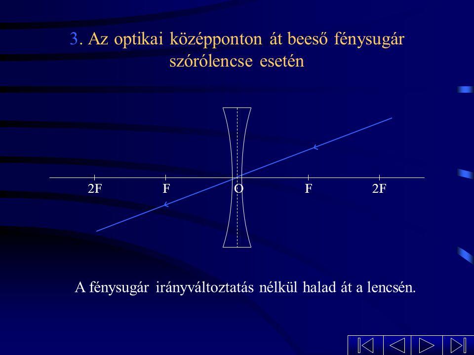 2. A fókuszpont irányába beeső fénysugár szórólencse esetén 2FFF O A megtört fénysugár az optikai tengellyel párhuzamosan halad tovább.