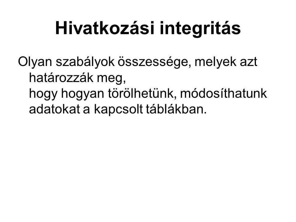 Hivatkozási integritás Olyan szabályok összessége, melyek azt határozzák meg, hogy hogyan törölhetünk, módosíthatunk adatokat a kapcsolt táblákban.