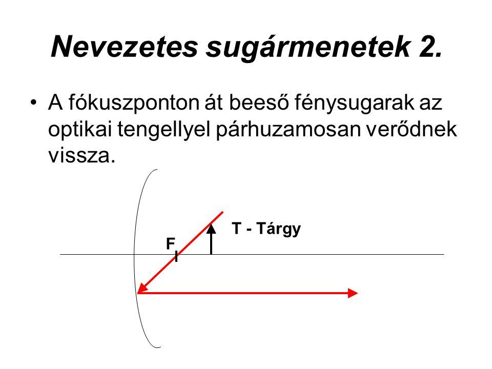 Nevezetes sugármenetek 3.A geometriai középponton át beeső fénysugarak önmagukba verődnek vissza.