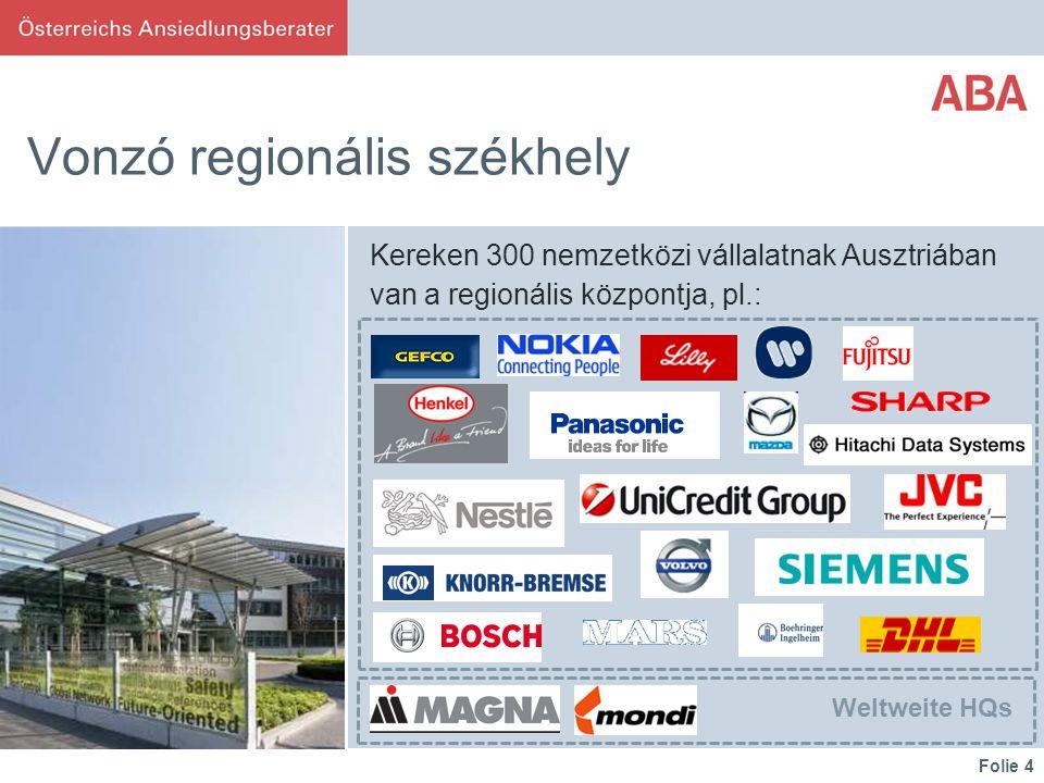 Folie 4 Vonzó regionális székhely Kereken 300 nemzetközi vállalatnak Ausztriában van a regionális központja, pl.: Weltweite HQs