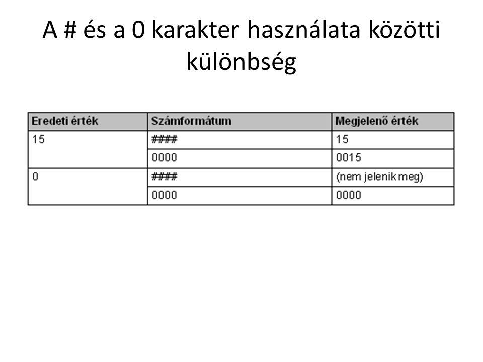 Az egyéni számformátumok négy pontosvesszővel (;) elválasztott szakaszt tartalmazhatnak.