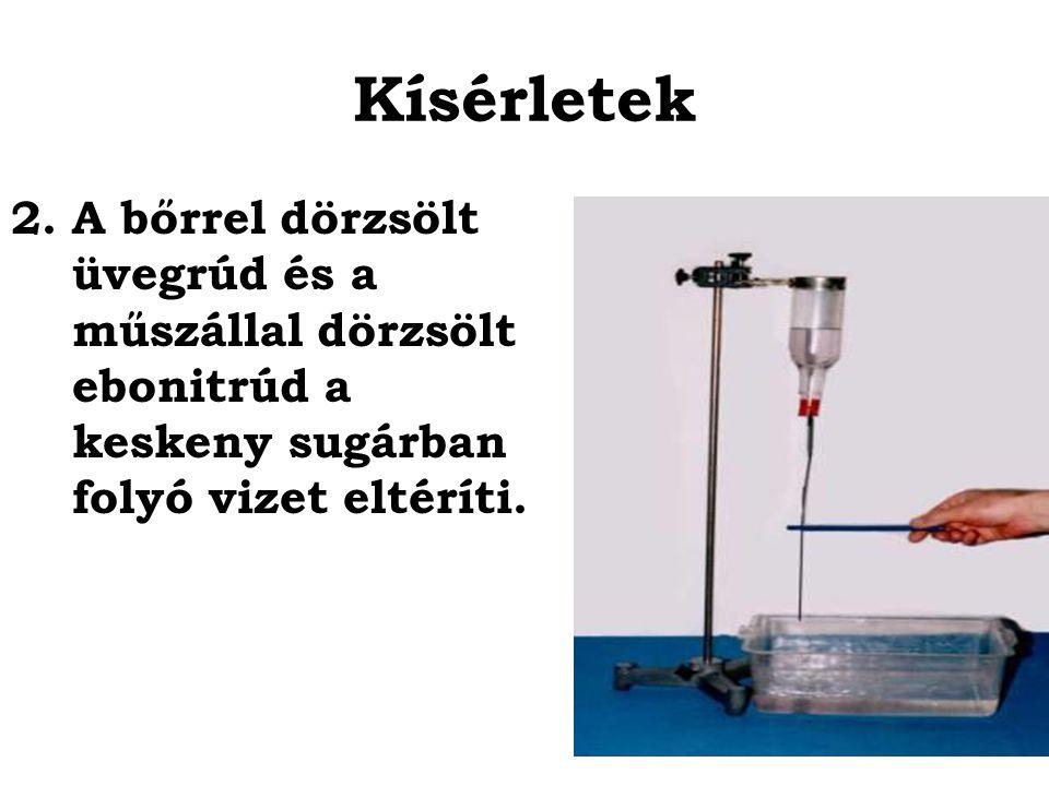 Kísérletek 2.A bőrrel dörzsölt üvegrúd és a műszállal dörzsölt ebonitrúd a keskeny sugárban folyó vizet eltéríti.
