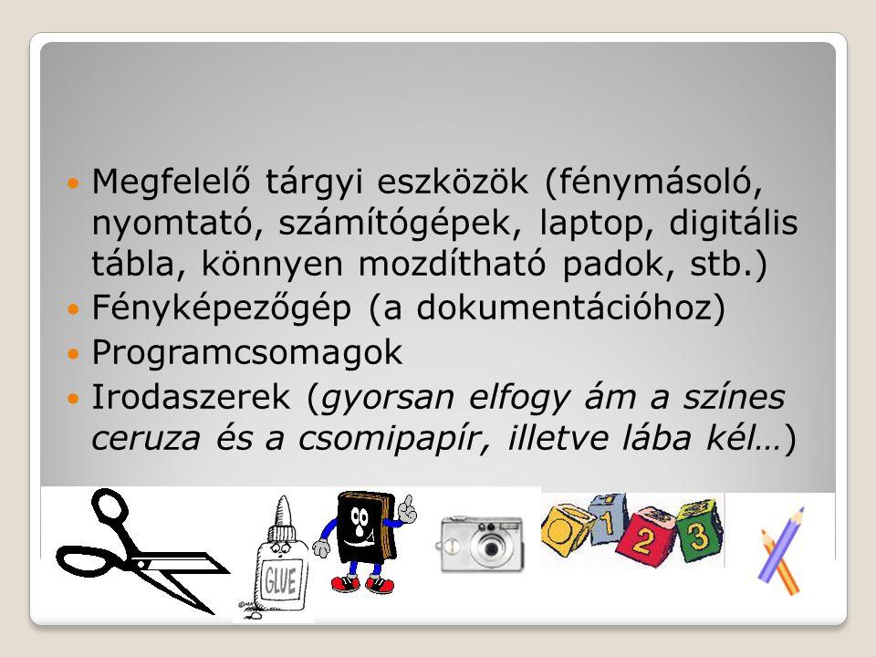 Megfelelő tárgyi eszközök (fénymásoló, nyomtató, számítógépek, laptop, digitális tábla, könnyen mozdítható padok, stb.) Fényképezőgép (a dokumentációhoz) Programcsomagok Irodaszerek (gyorsan elfogy ám a színes ceruza és a csomipapír, illetve lába kél…)