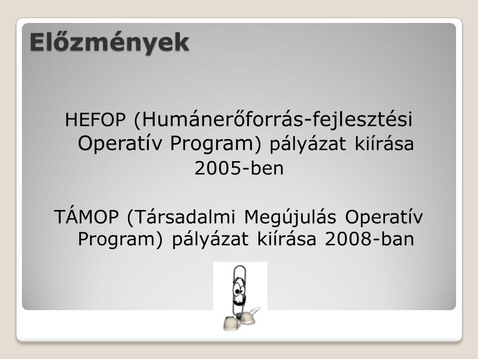 Előzmények HEFOP ( Humánerőforrás-fejlesztési Operatív Program ) pályázat kiírása 2005-ben TÁMOP (Társadalmi Megújulás Operatív Program) pályázat kiírása 2008-ban