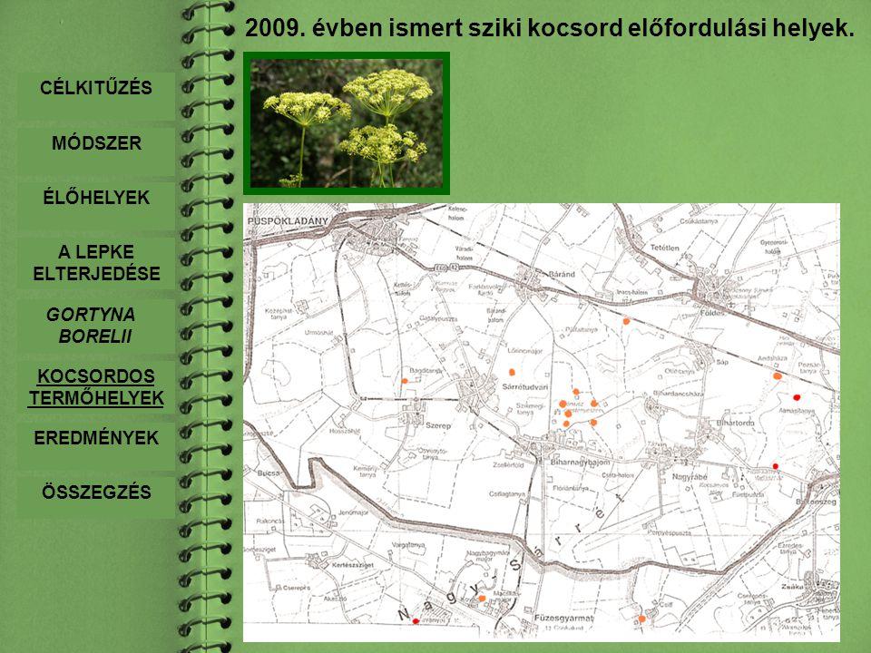 2009. évben ismert sziki kocsord előfordulási helyek. CÉLKITŰZÉS MÓDSZER ÉLŐHELYEK A LEPKE ELTERJEDÉSE GORTYNA BORELII KOCSORDOS TERMŐHELYEK EREDMÉNYE