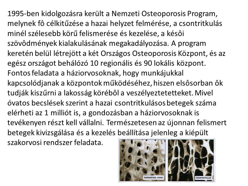 1995-ben kidolgozásra került a Nemzeti Osteoporosis Program, melynek fô célkitűzése a hazai helyzet felmérése, a csontritkulás minél szélesebb körű felismerése és kezelése, a késôi szövôdmények kialakulásának megakadályozása.