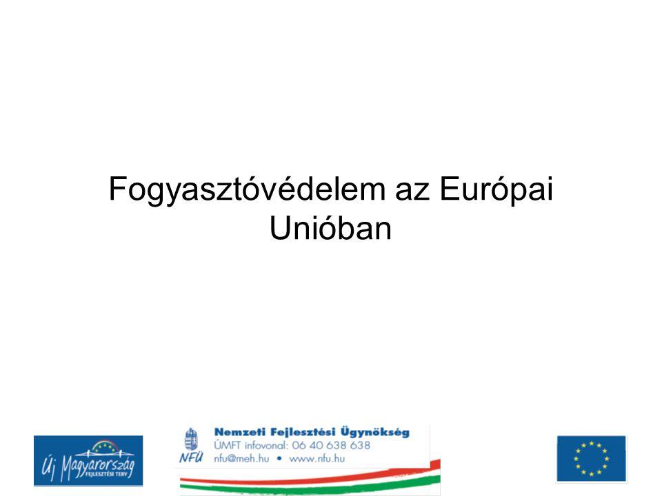 Az Európai Unió fogyasztóvédelmének alapjai Európai Gazdasági Közösséget létrehozó Római Szerződés ( 1957 március 25.) még nem tartalmazott konkrét fogyasztóvédelmi rendelkezéseket Utalások: versenyjog, agrárpolitika Az egységes belső piac megteremtésének elengedhetetlen feltételei közé tartozik ez a terület is