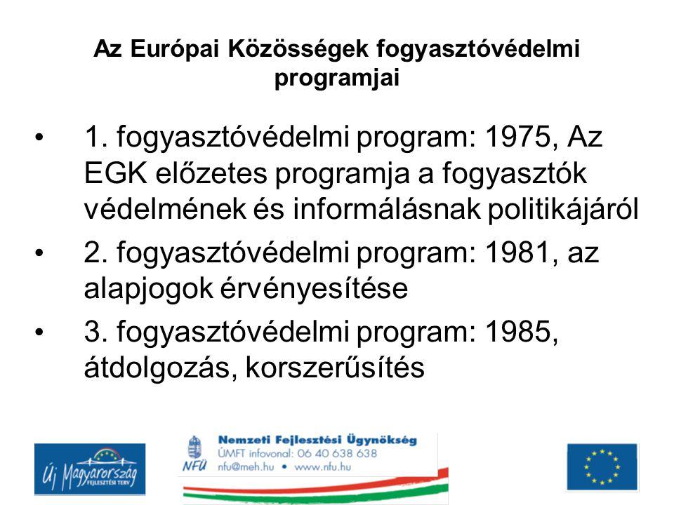 Az Európai Közösségek fogyasztóvédelmi programjai 1. fogyasztóvédelmi program: 1975, Az EGK előzetes programja a fogyasztók védelmének és informálásna