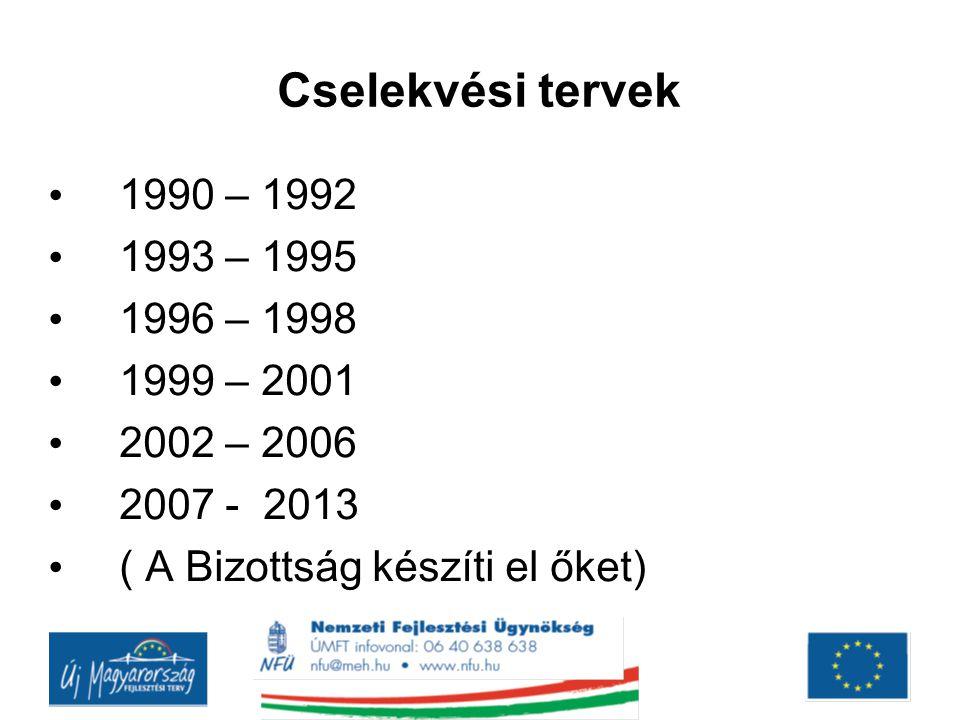 Cselekvési tervek 1990 – 1992 1993 – 1995 1996 – 1998 1999 – 2001 2002 – 2006 2007 - 2013 ( A Bizottság készíti el őket)