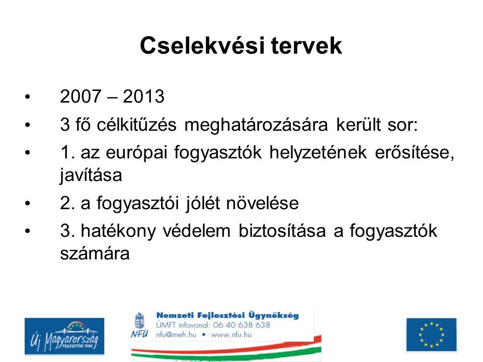 Cselekvési tervek 2007 – 2013 3 fő célkitűzés meghatározására került sor: 1. az európai fogyasztók helyzetének erősítése, javítása 2. a fogyasztói jól