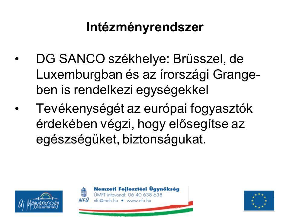 Intézményrendszer DG SANCO székhelye: Brüsszel, de Luxemburgban és az írországi Grange- ben is rendelkezi egységekkel Tevékenységét az európai fogyasz