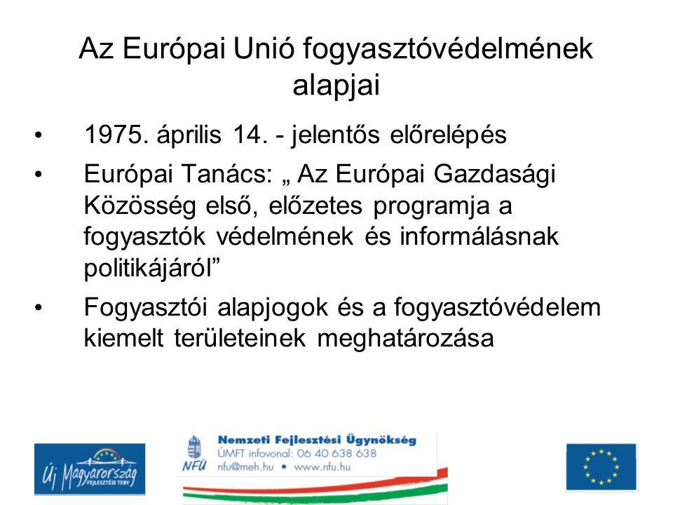 Az Európai Unió fogyasztóvédelmének alapjai Fogyasztói alapjogok: egészség és biztonság védelme gazdasági érdekek védelme kárigény érvényesítéséhez való jog információhoz való jog képviselet (érdekérvényesítéshez való jog)
