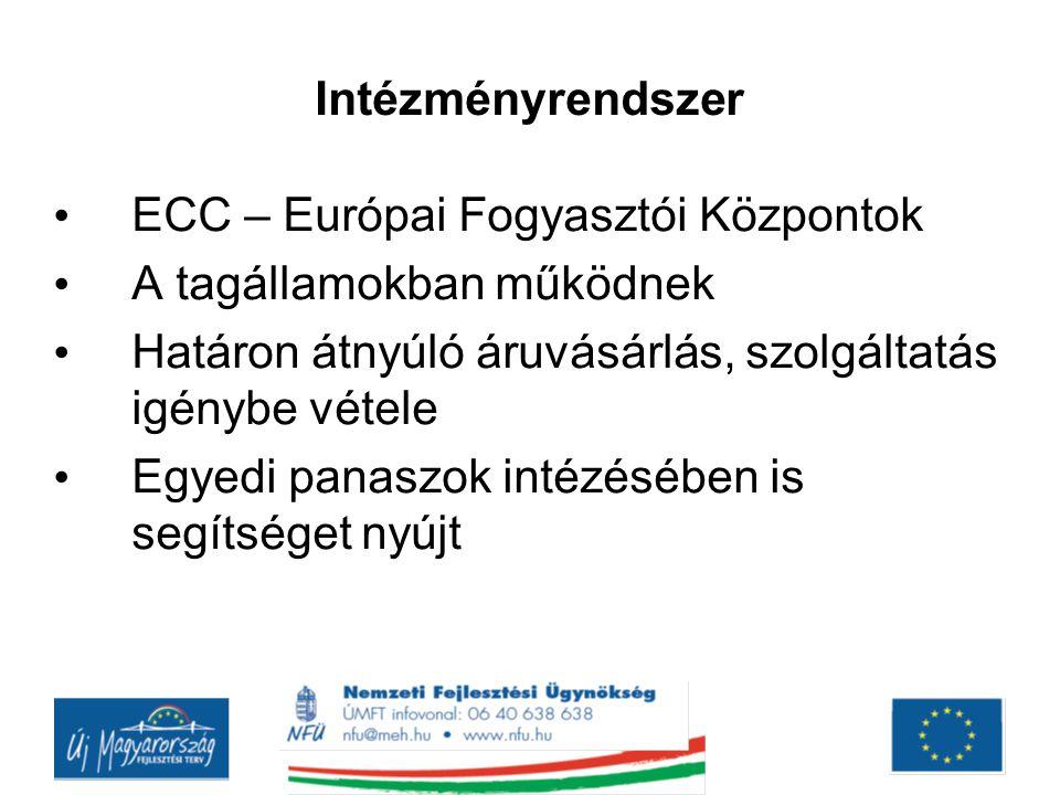 Intézményrendszer ECC – Európai Fogyasztói Központok A tagállamokban működnek Határon átnyúló áruvásárlás, szolgáltatás igénybe vétele Egyedi panaszok