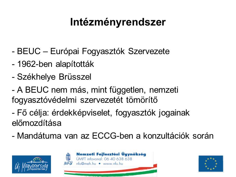 Intézményrendszer - BEUC – Európai Fogyasztók Szervezete - 1962-ben alapították - Székhelye Brüsszel - A BEUC nem más, mint független, nemzeti fogyasz