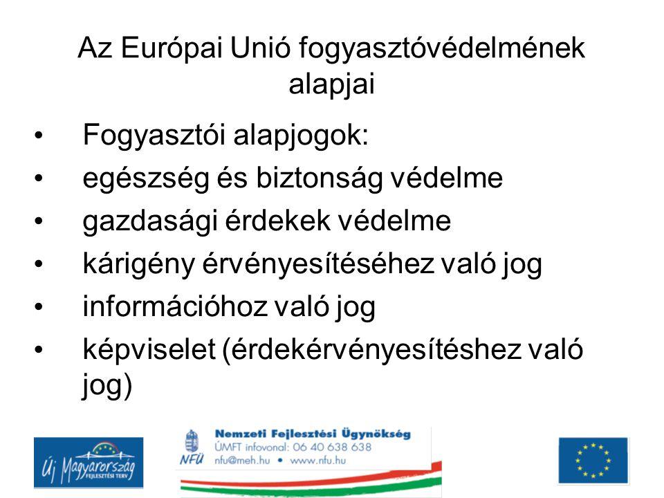 Az Európai Unió fogyasztóvédelmének alapjai Fogyasztói alapjogok: egészség és biztonság védelme gazdasági érdekek védelme kárigény érvényesítéséhez va
