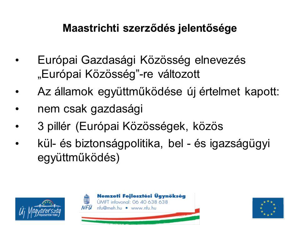 """Maastrichti szerződés jelentősége Európai Gazdasági Közösség elnevezés """"Európai Közösség""""-re változott Az államok együttműködése új értelmet kapott: n"""