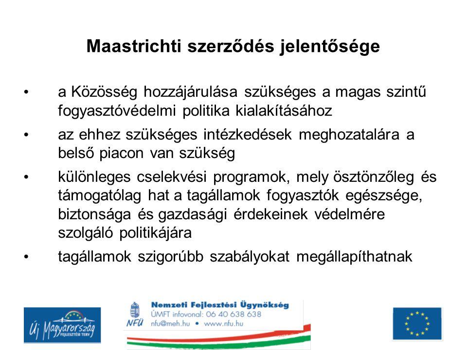 Maastrichti szerződés jelentősége a Közösség hozzájárulása szükséges a magas szintű fogyasztóvédelmi politika kialakításához az ehhez szükséges intézk