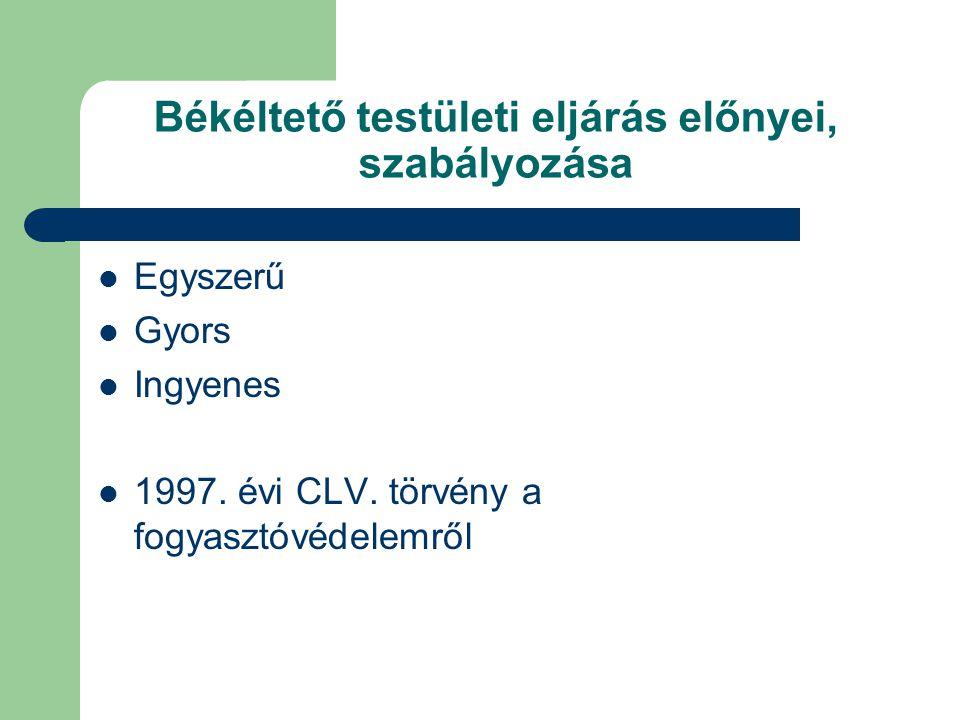 Békéltető testületi eljárás előnyei, szabályozása Egyszerű Gyors Ingyenes 1997.