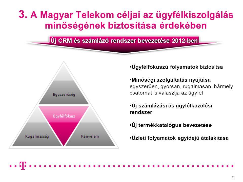 3. A Magyar Telekom céljai az ügyfélkiszolgálás minőségének biztosítása érdekében Ügyfélfókuszú folyamatok biztosítsa Minőségi szolgáltatás nyújtása e