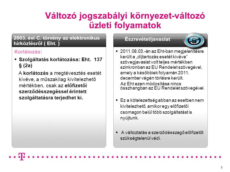 Változó jogszabályi környezet-változó üzleti folyamatok 5 Ügyfél értesítés: Korlátozás:  Szolgáltatás korlátozása: Eht. 137 § (2a) A korlátozás a meg