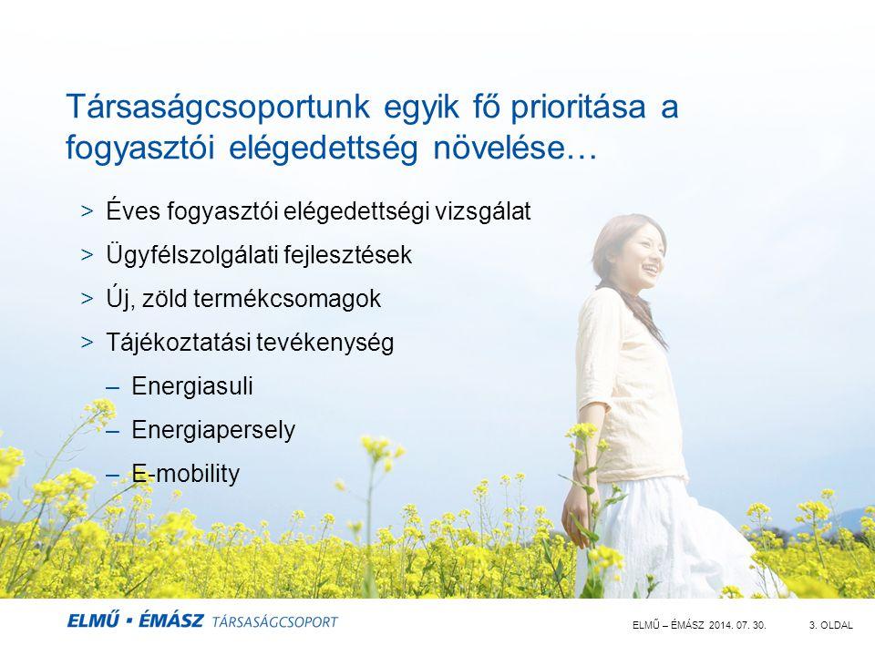 ELMŰ – ÉMÁSZ 2014. 07. 30.3. OLDAL Társaságcsoportunk egyik fő prioritása a fogyasztói elégedettség növelése… >Éves fogyasztói elégedettségi vizsgálat