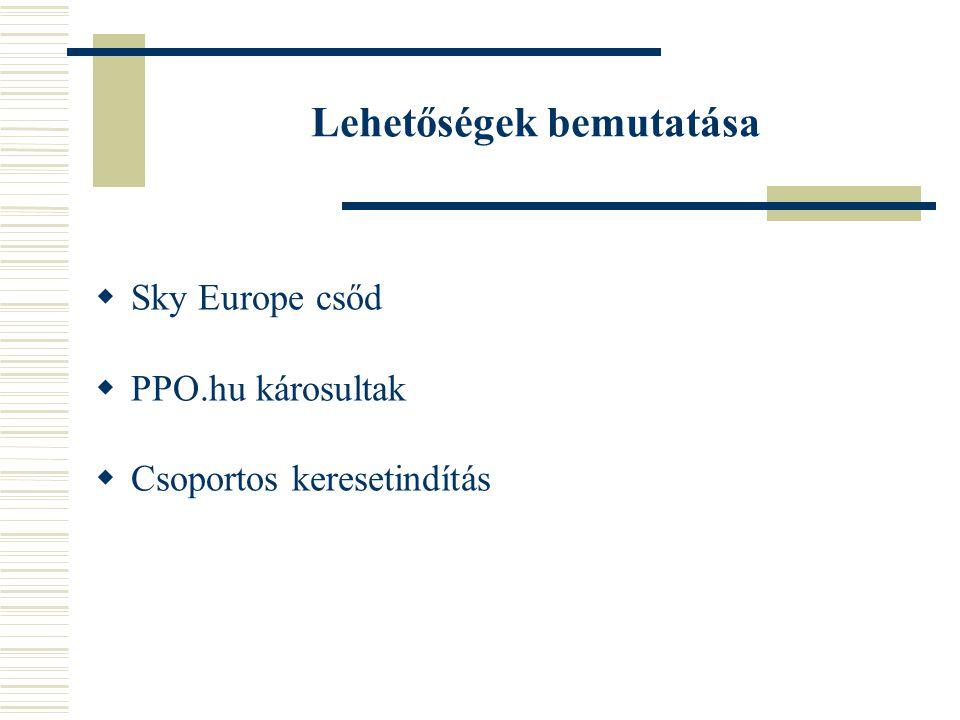 Lehetőségek bemutatása  Sky Europe csőd  PPO.hu károsultak  Csoportos keresetindítás