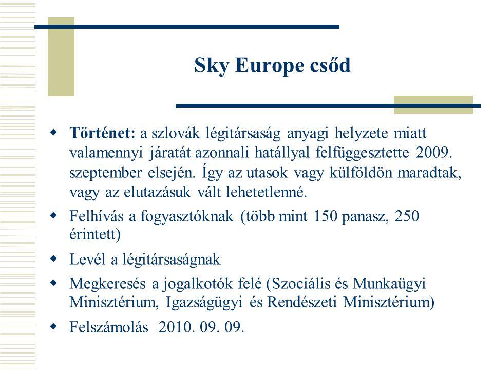 Sky Europe csőd  Panaszok továbbítása Országos Fogyasztóvédelmi Egyesület által működtetett Európai Fogyasztói Központhoz  Kapcsolatfelvétel a szlovák Európai Fogyasztói Központtal  Felszámolás, hitelezői igény/kártérítési bejelentése 45 napig, űrlaphoz segítség  Jelenleg összesen 3400 nyilvántartásba vett hitelező, az elismert követelések összege 123 millió EUR, az el nem ismert követelések összege 57 millió EUR.