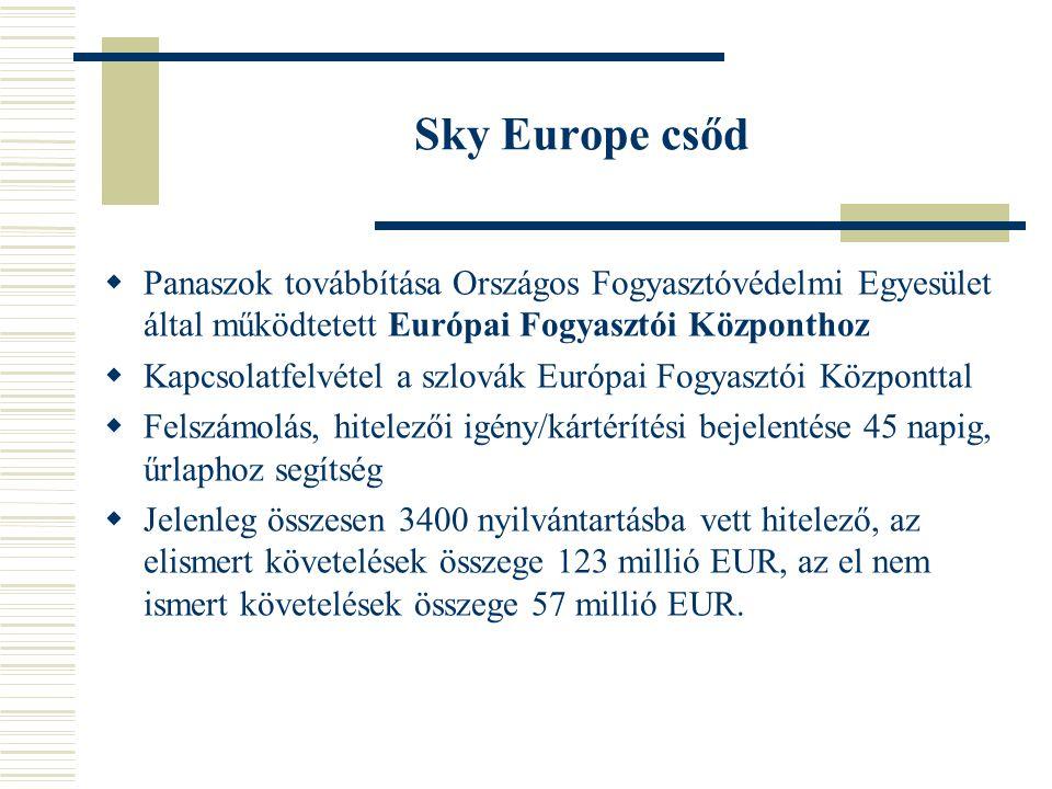 Utasokat megillető jogok  261/2004/EK rendelet a visszautasított beszállás és légijáratok törlése vagy hosszú késése esetén az utasoknak nyújtandó kártalanítás és segítség közös szabályainak megállapításáról:  Repülőjegy árának visszatérítése és  szeptember 1-jei általános járattörlést követő két héten belül utazóknak kártalanítás (repülőút hosszától függően 250- 600 eur) és  Kártérítés (más légitársaságnál kényszerűen vásárolt repülőjegy, benzinköltség és autópálya-díj, szállodai átfoglalás összege, munkakiesés, stb)  Megoldás??.