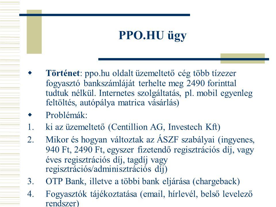 PPO.HU ügy  Történet: ppo.hu oldalt üzemeltető cég több tízezer fogyasztó bankszámláját terhelte meg 2490 forinttal tudtuk nélkül.