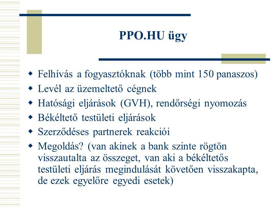 PPO.HU ügy  Felhívás a fogyasztóknak (több mint 150 panaszos)  Levél az üzemeltető cégnek  Hatósági eljárások (GVH), rendőrségi nyomozás  Békéltető testületi eljárások  Szerződéses partnerek reakciói  Megoldás.