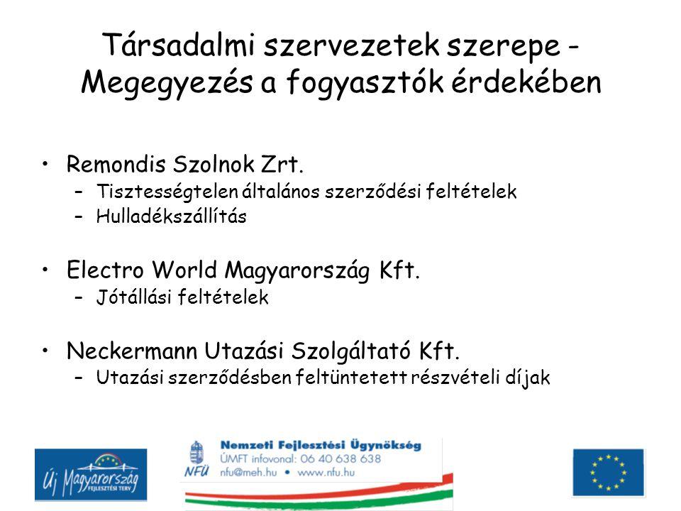 Társadalmi szervezetek szerepe - Megegyezés a fogyasztók érdekében Remondis Szolnok Zrt. –Tisztességtelen általános szerződési feltételek –Hulladékszá