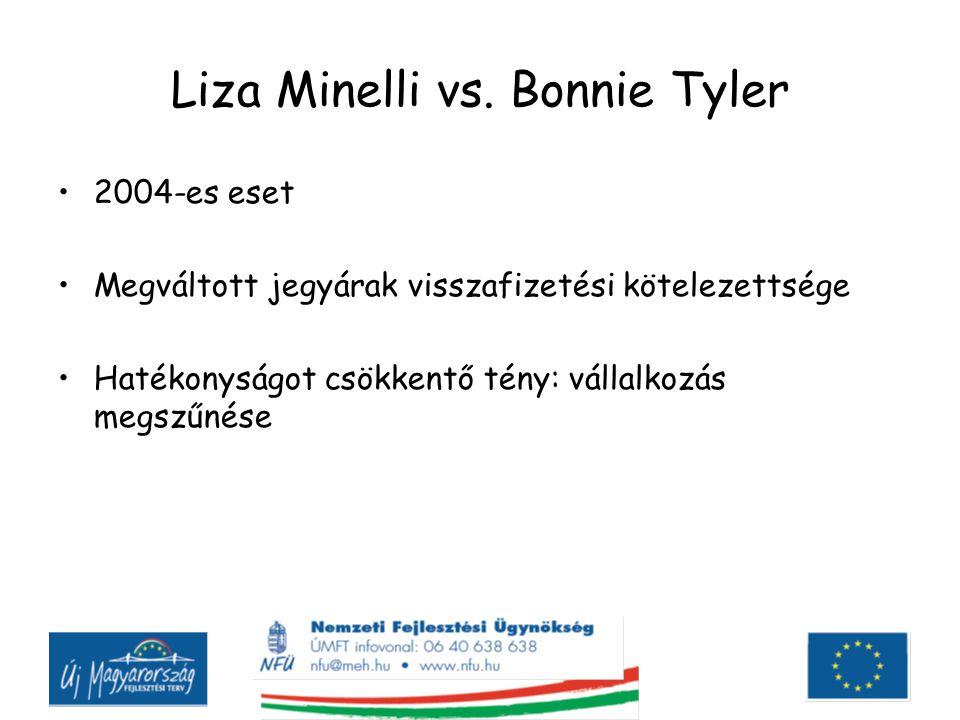 Liza Minelli vs. Bonnie Tyler 2004-es eset Megváltott jegyárak visszafizetési kötelezettsége Hatékonyságot csökkentő tény: vállalkozás megszűnése