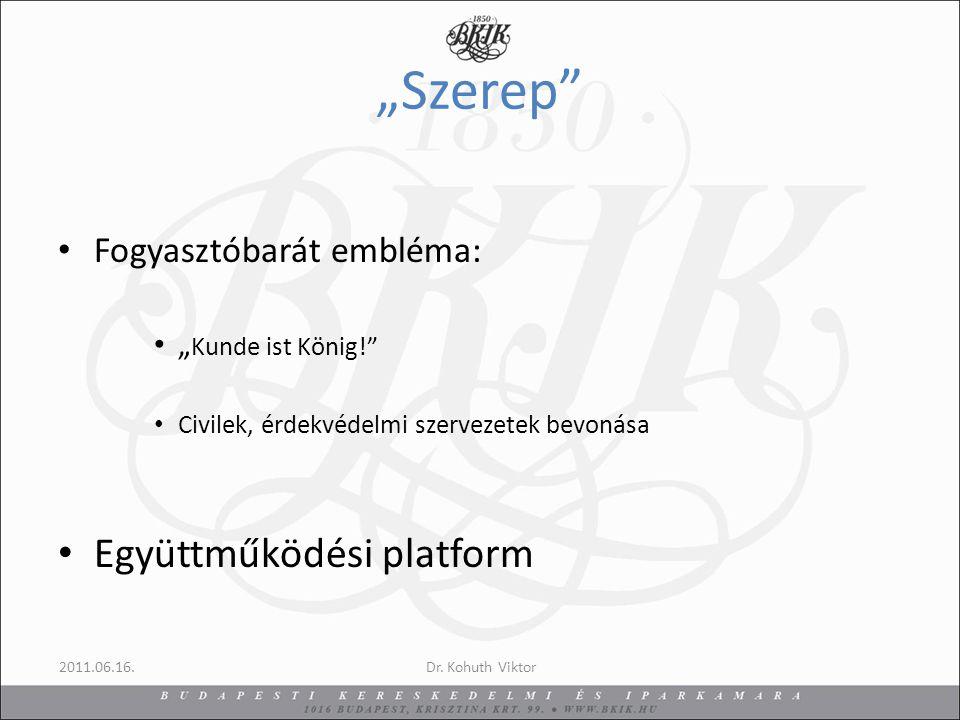 """""""Szerep Fogyasztóbarát embléma: """" Kunde ist König! Civilek, érdekvédelmi szervezetek bevonása Együttműködési platform 2011.06.16.Dr."""