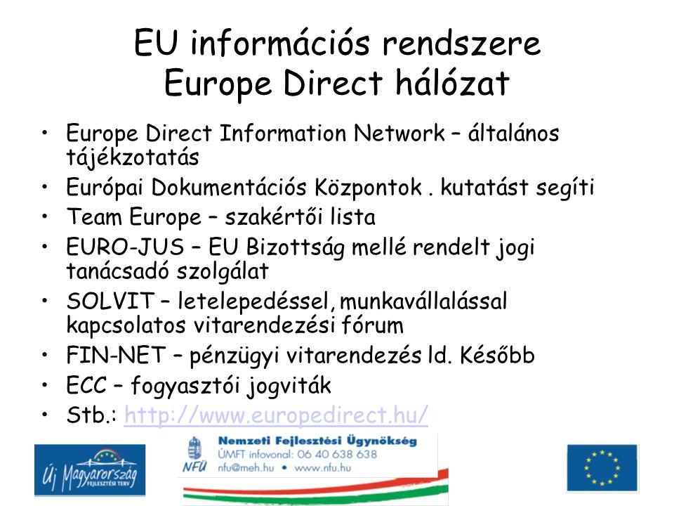 EU információs rendszere Europe Direct hálózat Europe Direct Information Network – általános tájékzotatás Európai Dokumentációs Központok.